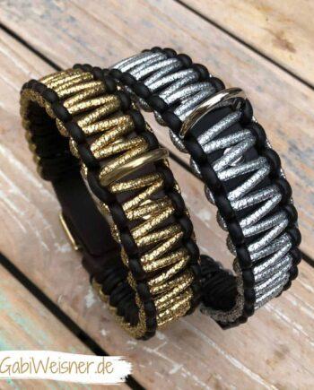 Hundehalsband in Gold Braun oder in Silber Schwarz