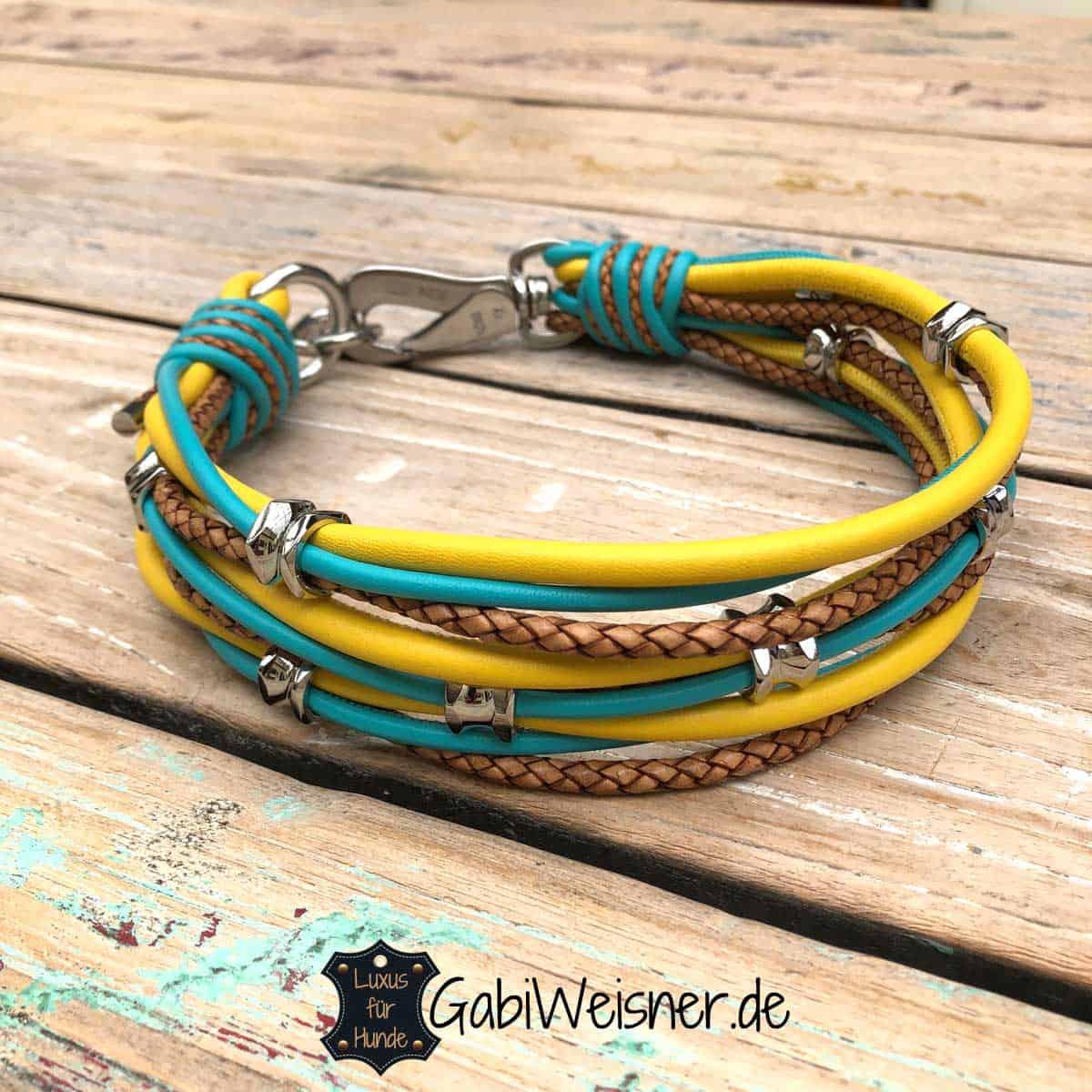 Hundehalsband Leder Mix mit 3 Farben und bestückt mit Ohrtunnel