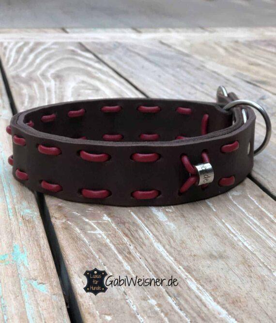 Zugstopp Hundehalsband Leder 4 cm breit Braun Rot