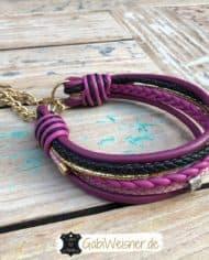 hundehalsband-leder-beere-rosa-pink-schwarz-gold-1