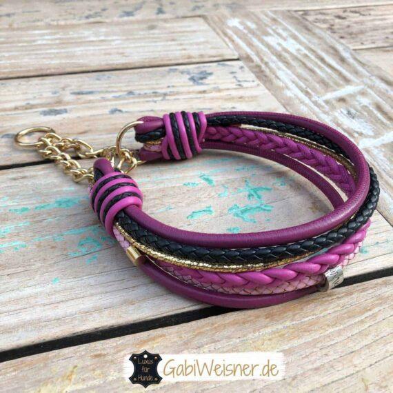Luxus Hundehalsband in der Farbe Beere