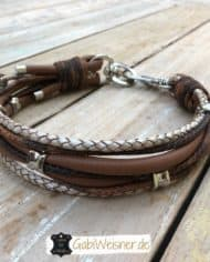 Hundehalsband-Leder-Mix-in-Braun-Perlmutt