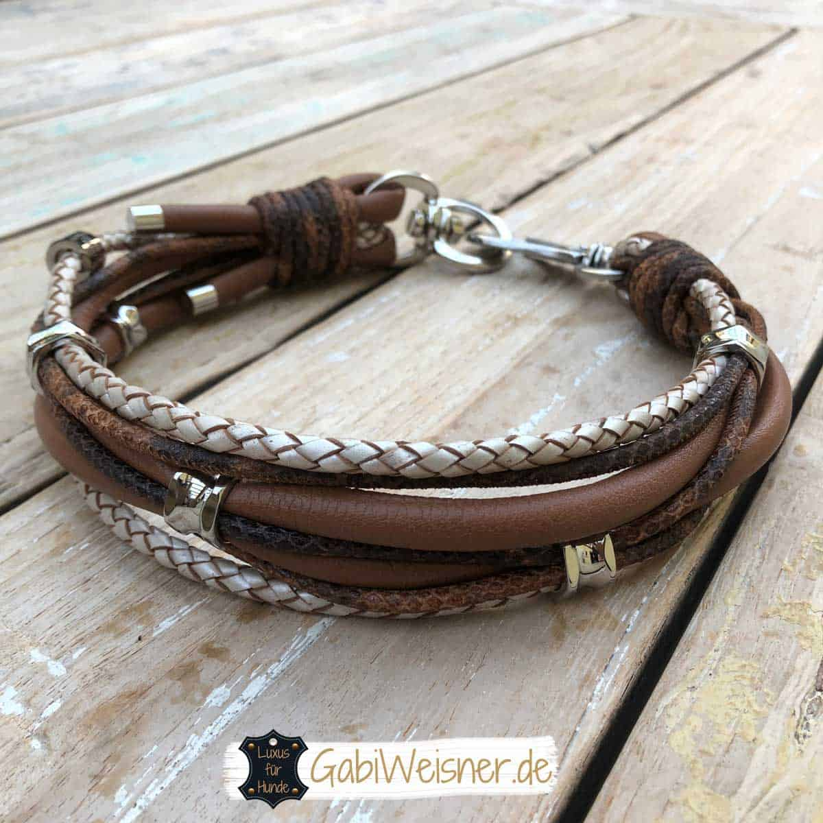 Hundehalsband Leder Mix in Braun