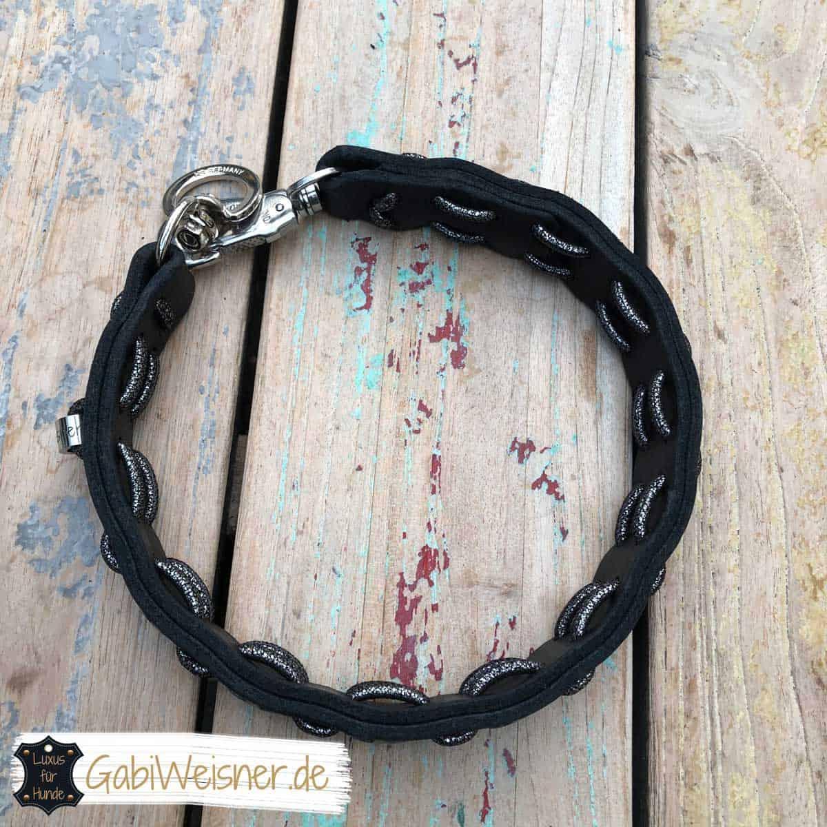 Hundehalsband Leder in Schwarz und mit Sternen