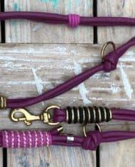 HundeLeine-Leder-in-Beere,-Rosa,-Pink,-Schwarz-und-Gold-1