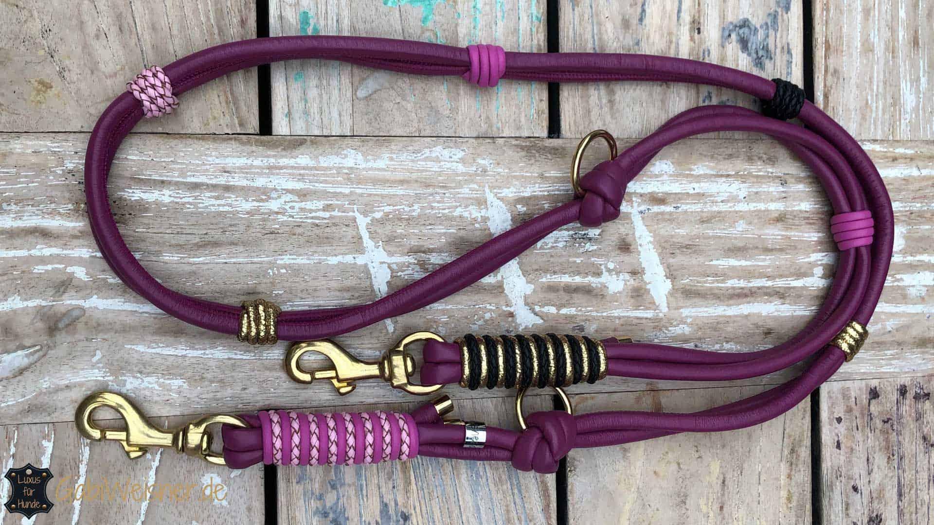 HundeLeine Leder in Beere, Rosa, Pink, Schwarz und Gold
