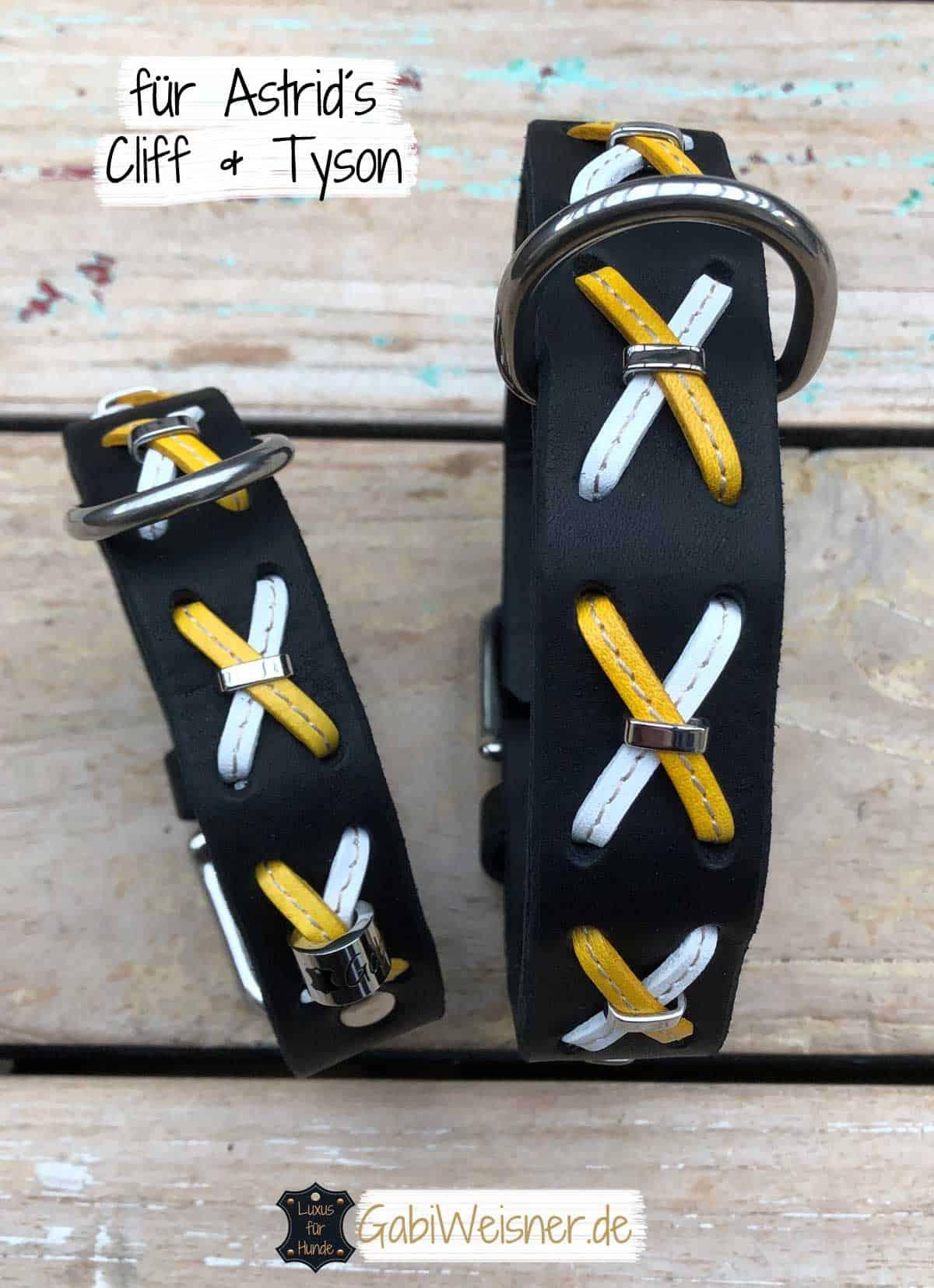 Hundehalsband Fettleder in Schwarz mit Kreuz in Weiß/Gelb
