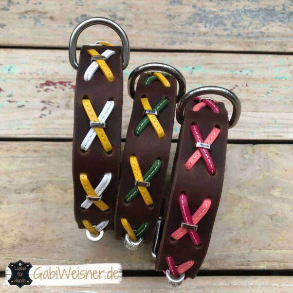 Hundehalsband Fettleder mit Kreuzen