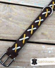 hundehalsband-fettleder-mit-kreuzen-gelb