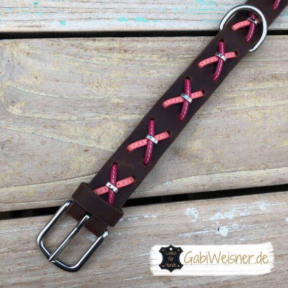 Hundehalsband Fettleder rosa