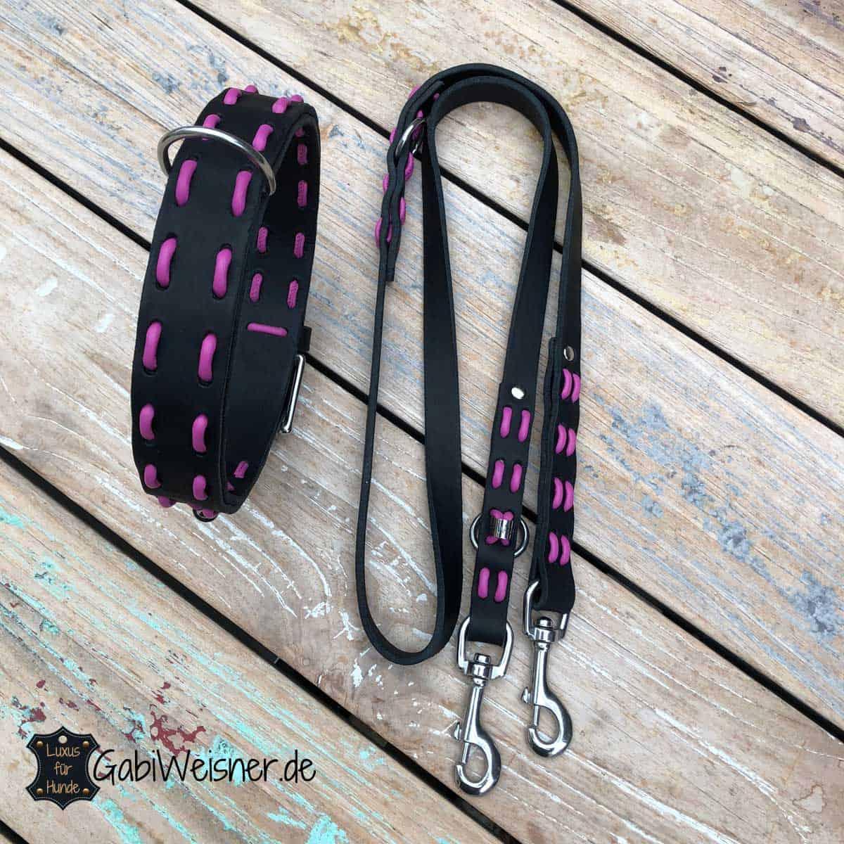 Hundehalsband und Leine Leder in Schwarz - Candy kombiniert mit Edelstahl. Starker Halt für mittelgroße und große Hunde.