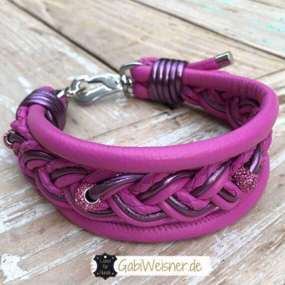 Hundehalsband Leder in Pink oder Türkis