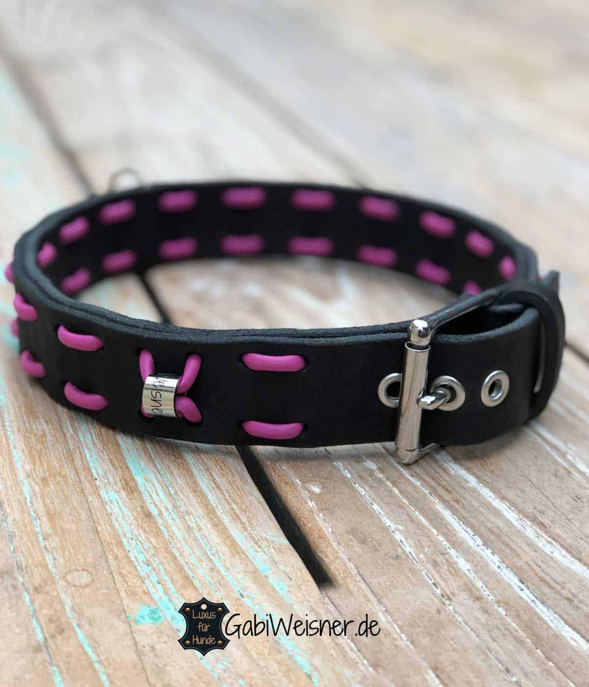 Hundehalsband Leder Schwarz Pink Candy