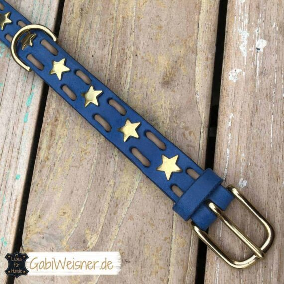 Hundehalsband mit Sternen Leder 3 cm breit