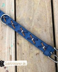 Hundehalsband-Rindsleder-mit-Kreuzen-blau