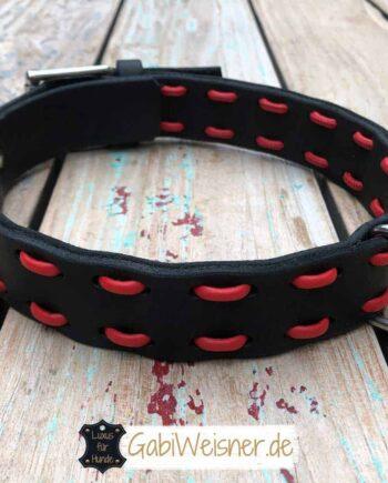 Hundehalsband Leder 3,5 cm breit für große Hunde