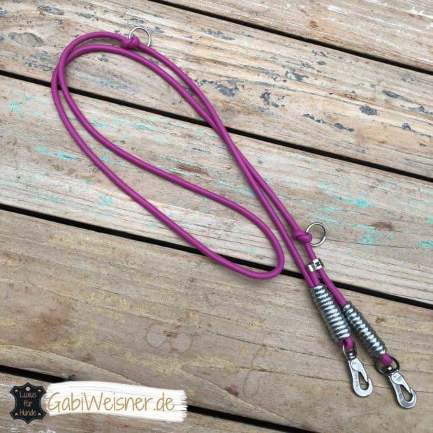 Hundeleine Pink, Leder 6 mm rund, weich, verstellbar, mit Glitzer