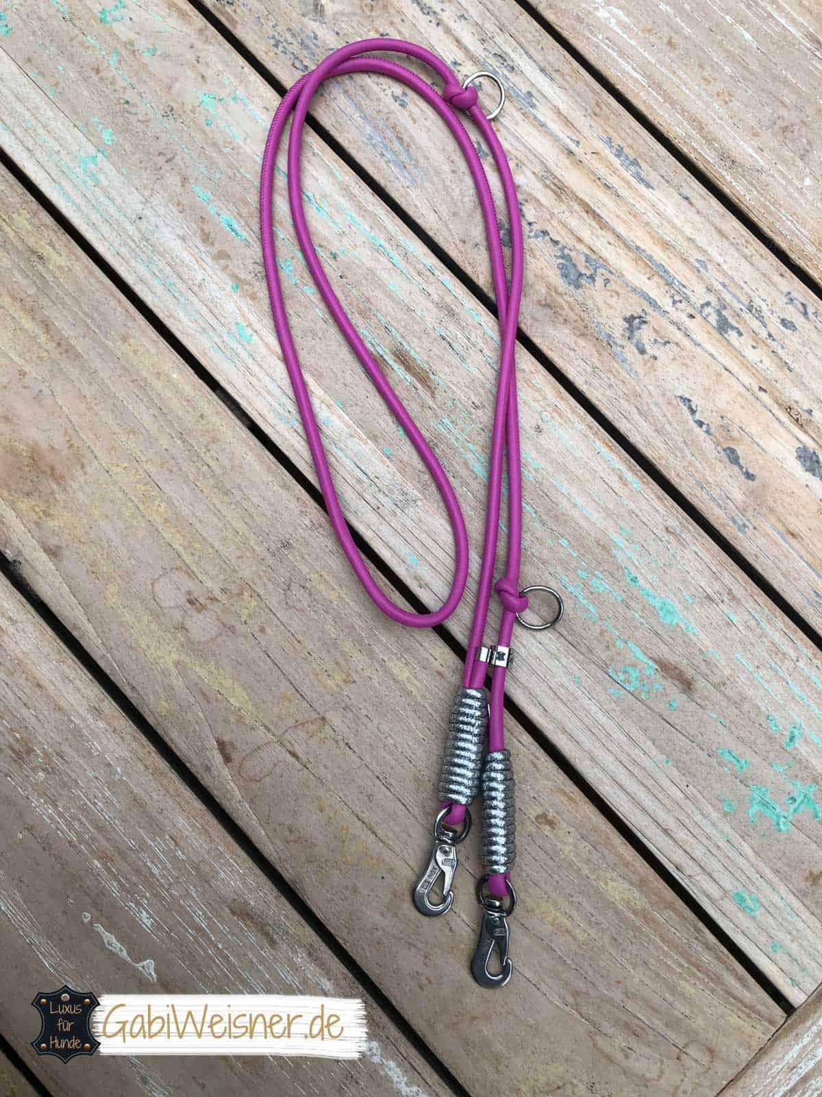 Luxus Hundeleine in Pink mit Silber-Glitzer