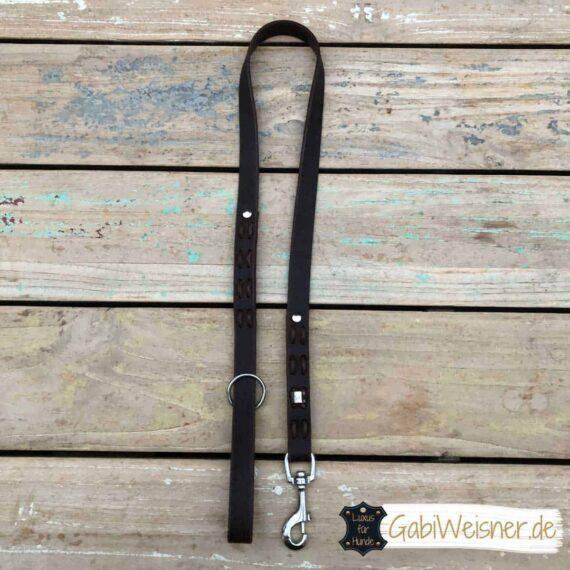 Hundeleine mit Handschlaufe Fettleder 2 cm breit