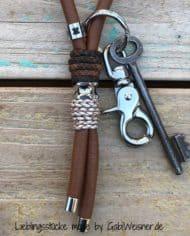 Luxus-Schlüsselband-Leder-Sattelbraun-Perlmutt-Schlange_2