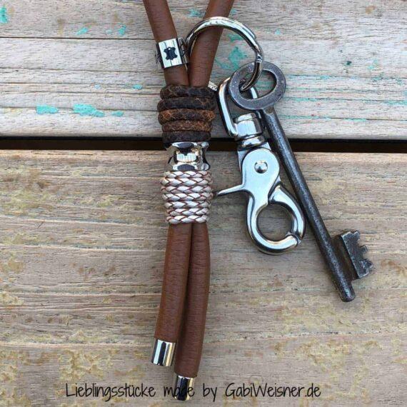 Luxus Schlüsselband Leder in Sattelbraun