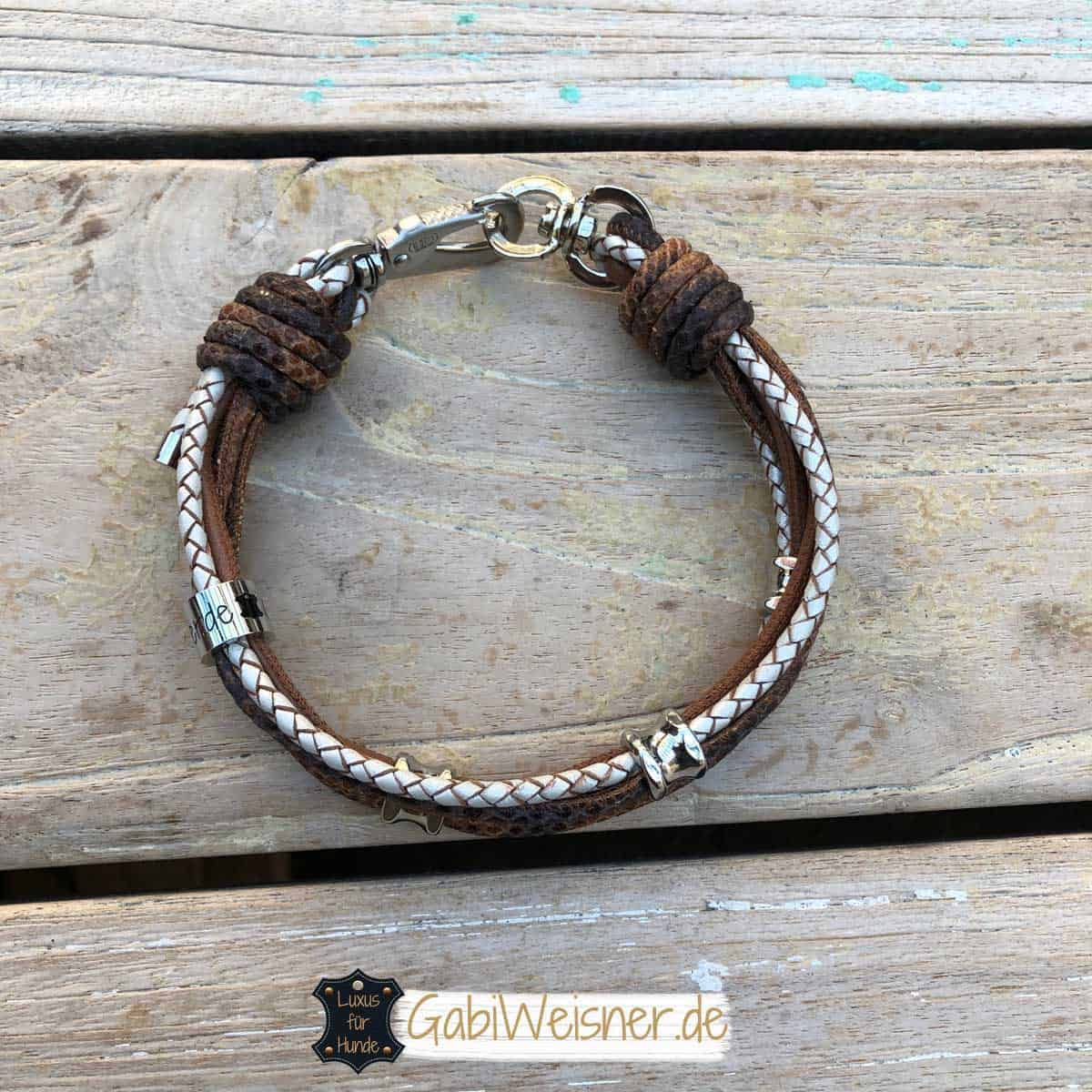 Mini Hundehalsband Leder Mix in Braun Perlmutt