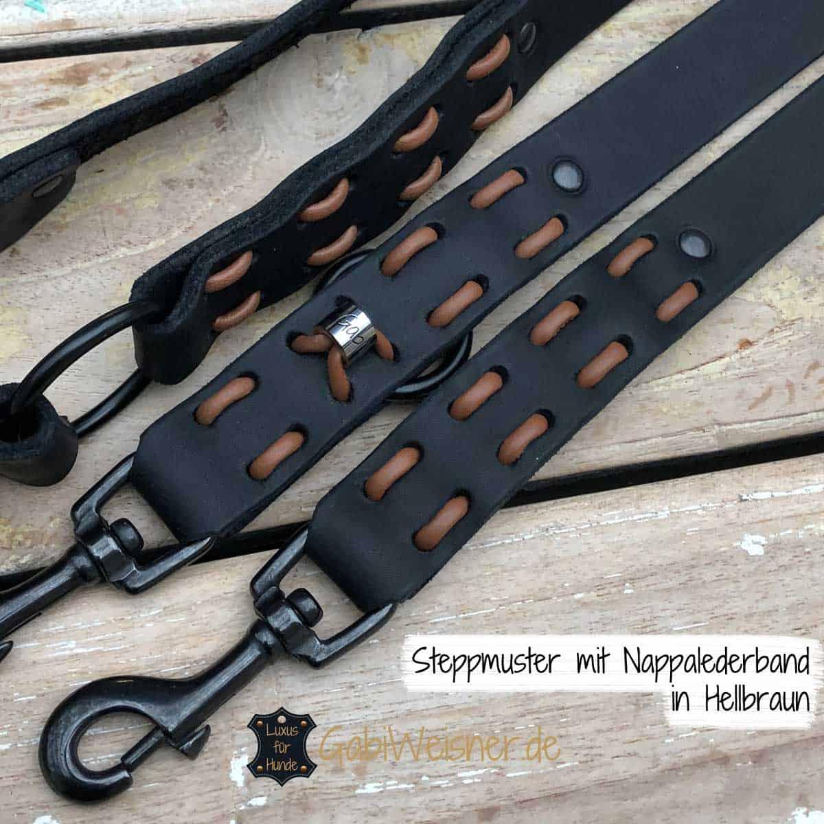Steppmuster mit Nappalederband in Hellbraun