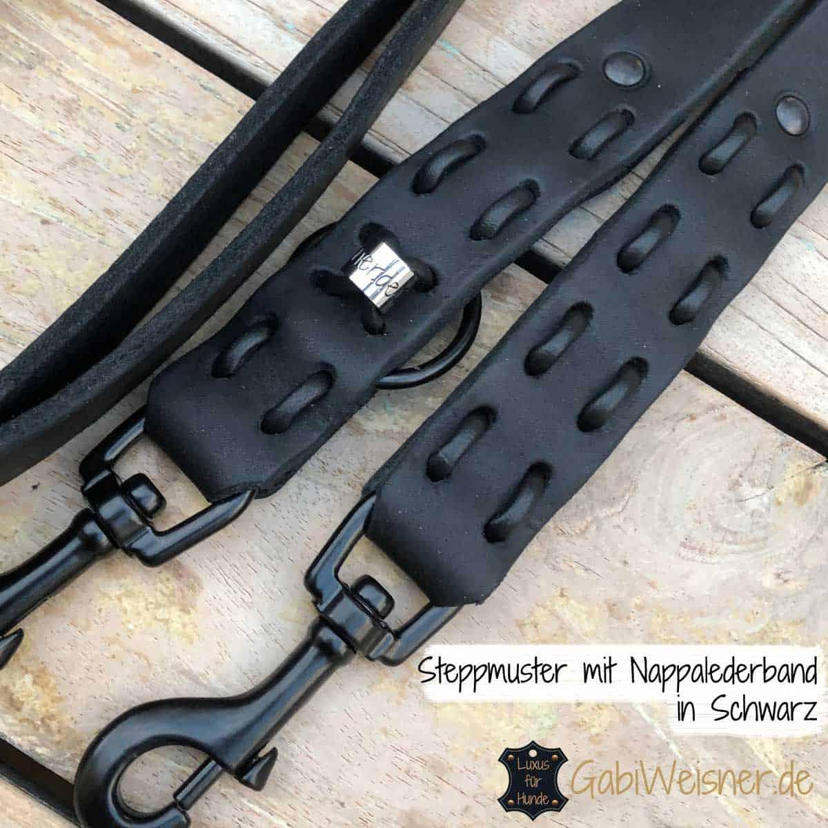 Steppmuster mit Nappalederband in Schwarz