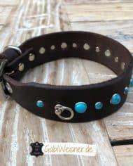 Hundehalsband-3-cm-breit_Leder_mit_Türkisen_Nieten_dekoriert_4