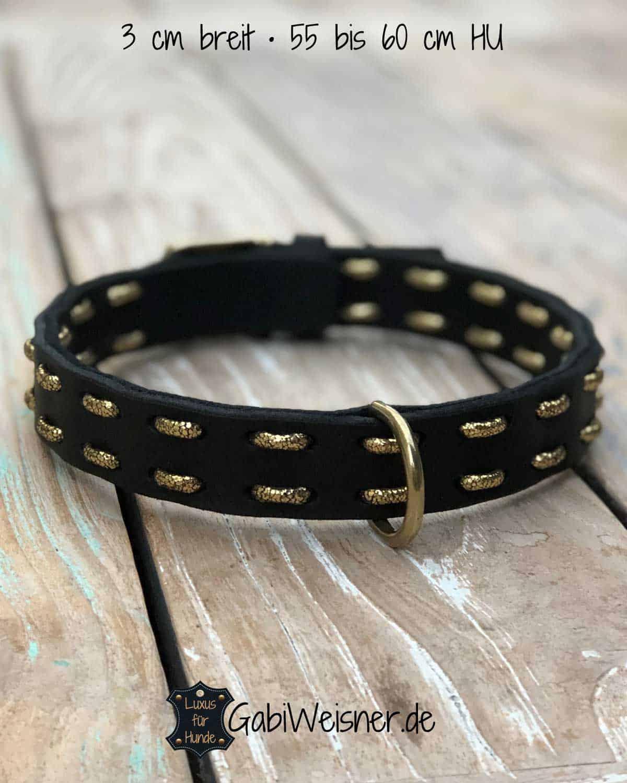 Hundehalsband Leder für große Hunde 3cm breit mit oder ohne Sterne