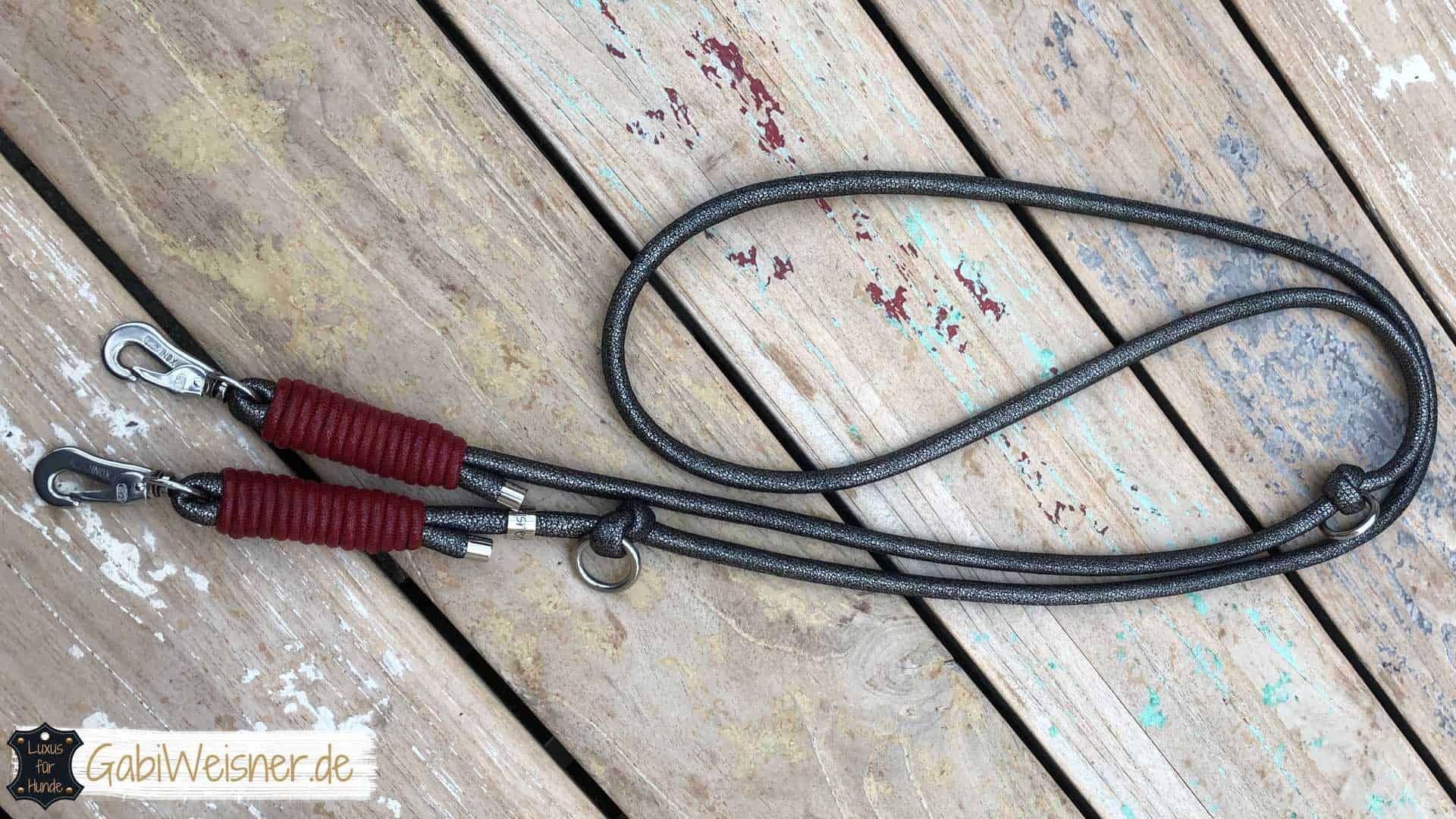 Hundeleine Leder rund gesäumt 8mm Anthrazit Rot