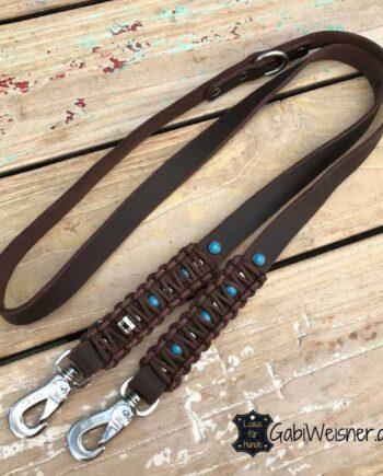 Indianer Hundeleine Leder 2,5 cm extra breit