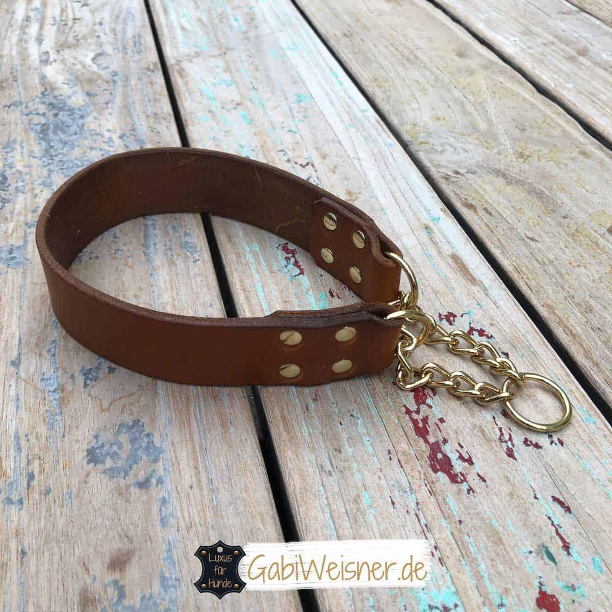 Zugstopp Hundehalsband Leder 4 cm breit