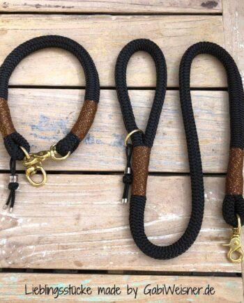 Halsband und Leine für große Hunde. Tau 16 mm dick