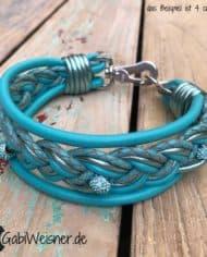 Hundehalsband-4-cm-breit-Leder-in-Türkis