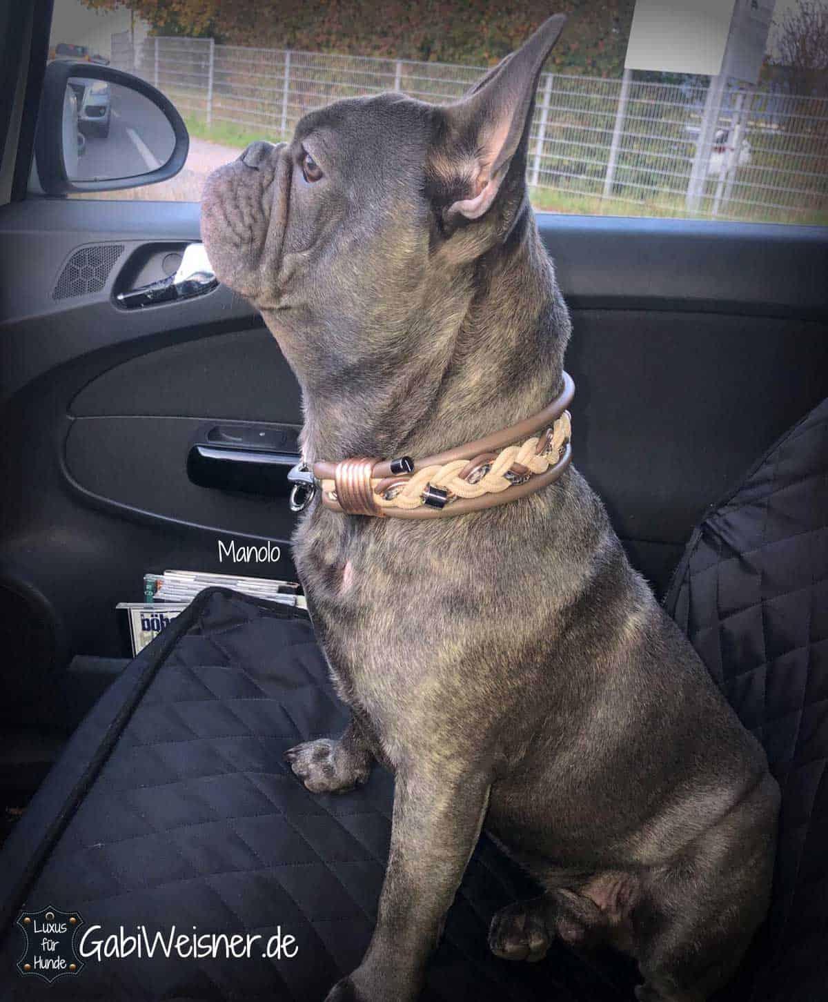 Hundehalsband Leder 4 cm breit. LUXUS für Hunde bis 45 cm Halsumfang