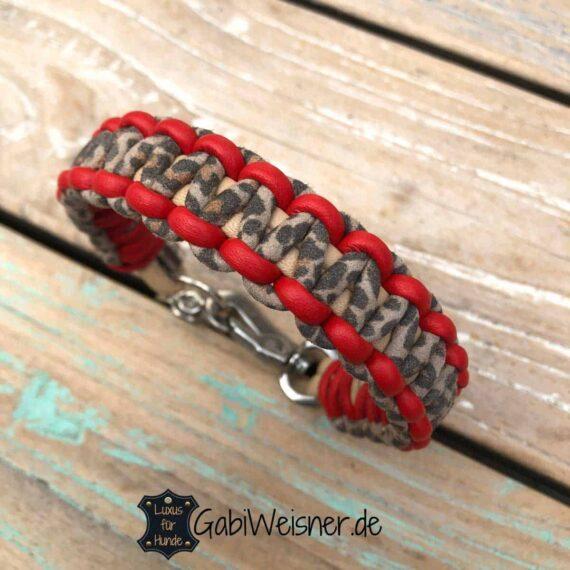 Hundehalsband Leopard. Leder 2 cm breit geknotet