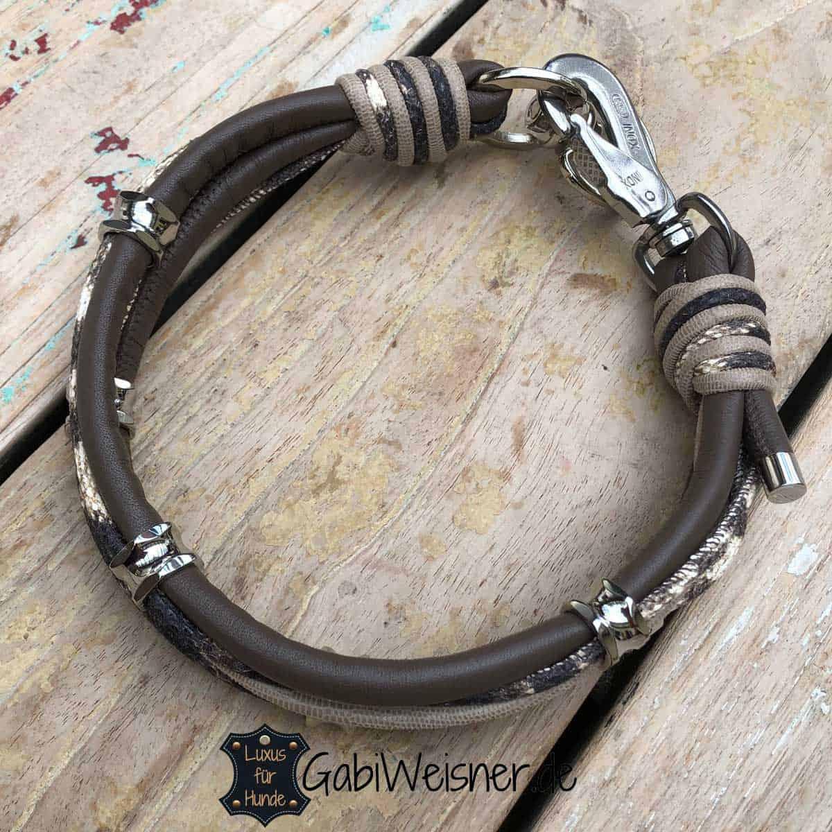 Hundehalsband exklusiv in Taupe, Schlangenprägung und Beige