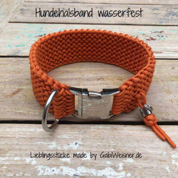 Hundehalsband wasserfest Paracord 6 cm breit