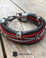 Luxus-Hundehalsband-Leder-in-Rot-Silber-Anthrazit-35-cm