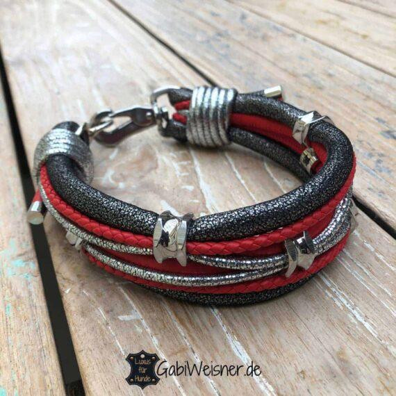 Luxus Hundehalsband Leder in Rot Silber Anthrazit