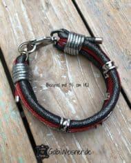 Luxus-Hundehalsband-Leder-in-Rot-Silber-Anthrazit-35-cm-HU