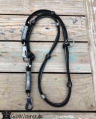 Luxus-HundeLeine-Leder,-2x-verstellbar,-160cm-8mm,-Schwarz-Anthrazit_2