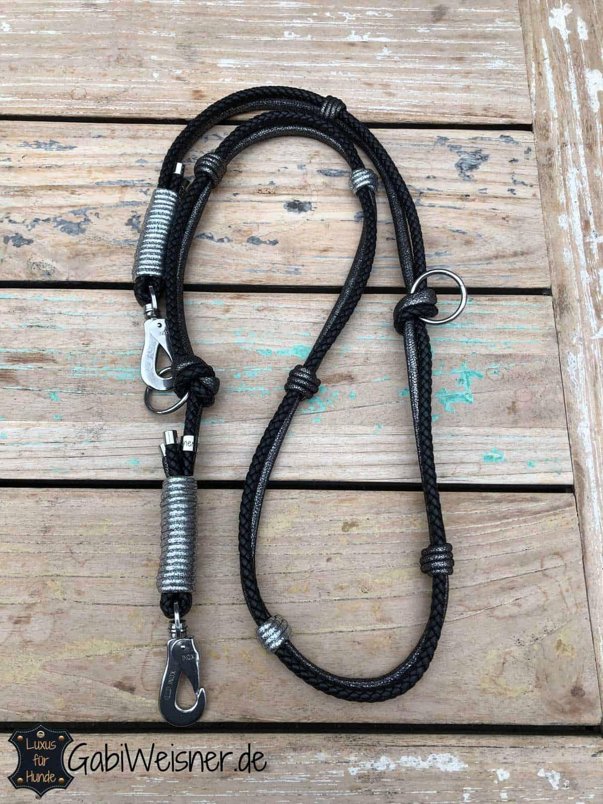Luxus HundeLeine Leder, 2x verstellbar, 160cm, je 8mm