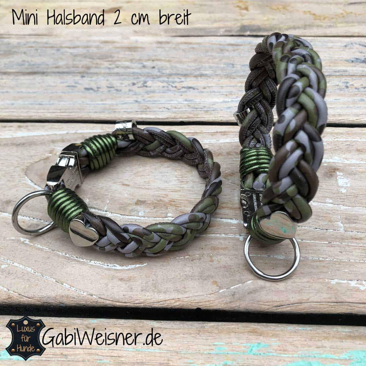 Mini Hundehalsband 2 cm breit Camouflage mit Herz