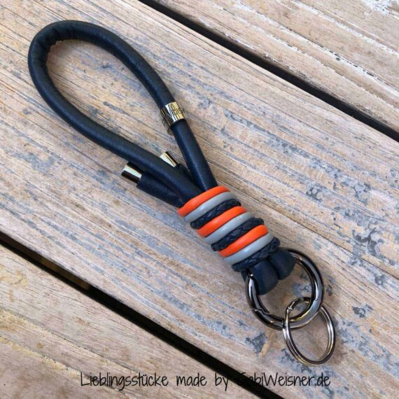 Schlüsselband Leder in Blau, Grau, Orange