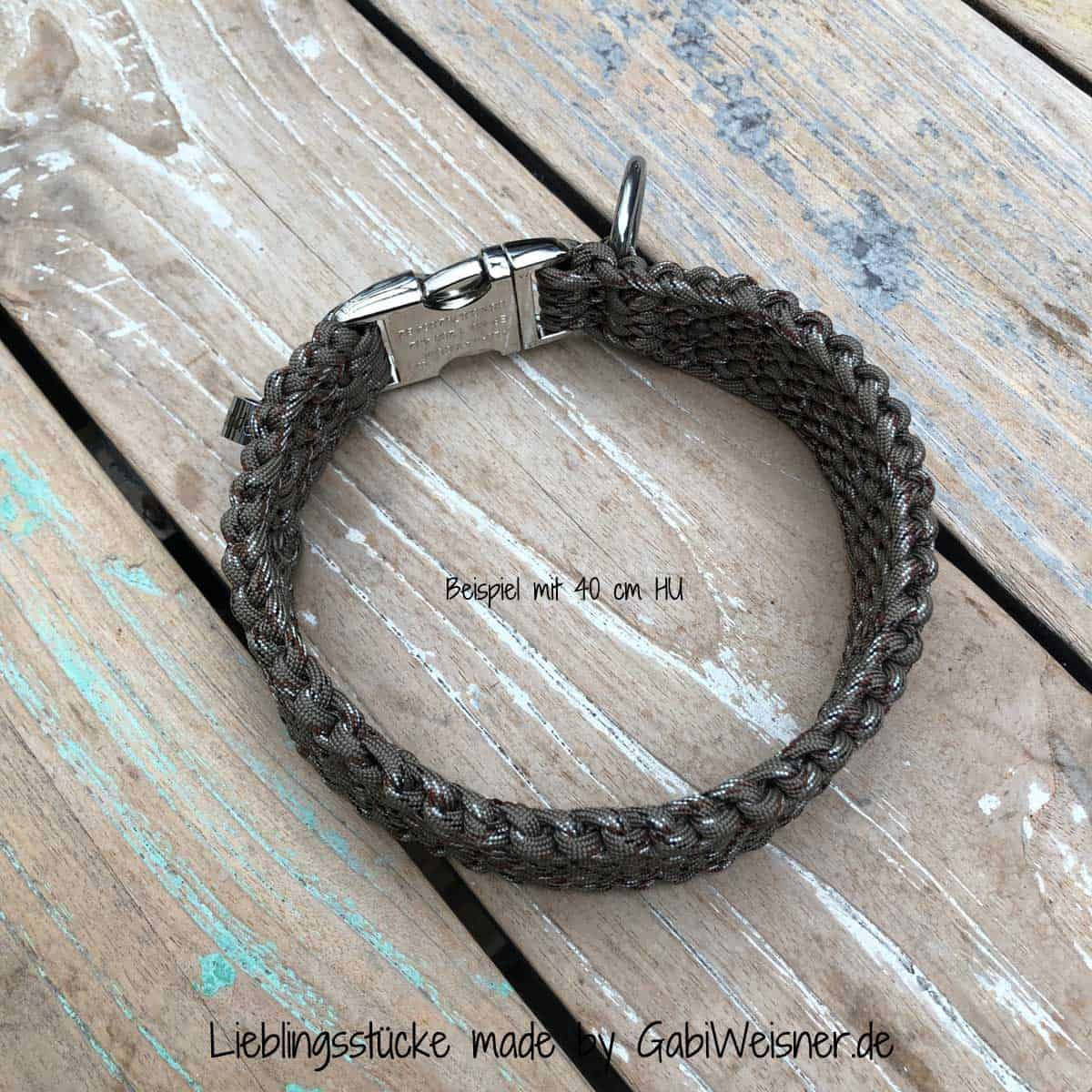 Hundehalsband Paracord 4 cm breit in Camouflage Taupe