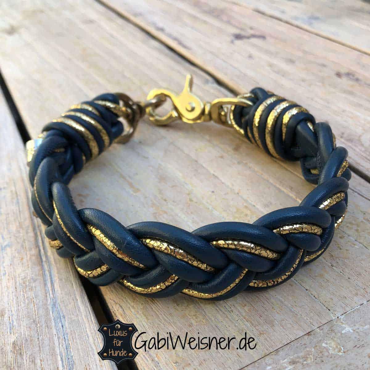 Hundehalsband geflochten 3 cm breit Leder Mix in Blau Gold
