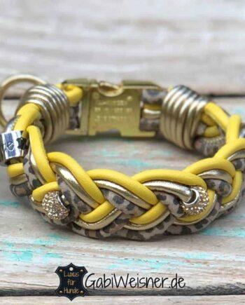 Mini Hundehalsband 3 cm breit Leder in Gelb-Gold-Leoprint