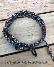 Paracord-Hundehalsband-3-cm-breit,-Schwarz-Weiß